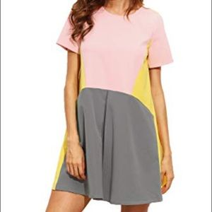SHEIN Yellow, pink and gray dress short